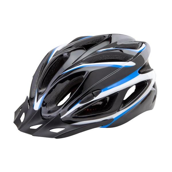 Шлем защитный FSD-HL022 (in-mold) L (58-60 см) чёрный с синими полосами/600129