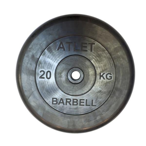 Диск обрезиненный, черного цвета, 26 мм, 20 кг Atlet