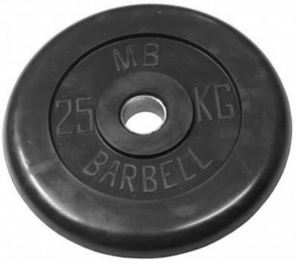 Диск обрезиненный, чёрного цвета, 51 мм, 20 кг  Atlet
