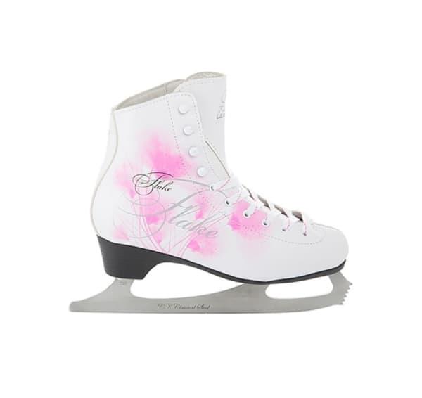 Фигурные коньки FLAKE leather (белый/розовый)