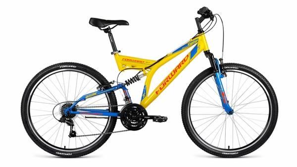 """Велосипед 26"""" Forward Raptor 1.0 Желтый/Синий 18 ск 17-18 г"""